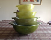 Vintage Pyrex Avocado Cinderella Mixing Bowl Set of 4