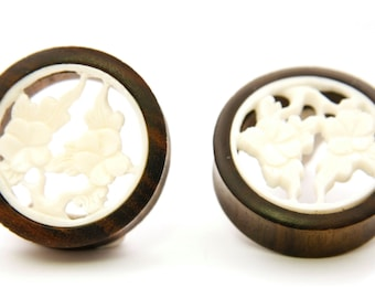 Double Flare Organic Sono Wood Ear Tunnel Plug Gauges with a Bone Inlay Flower Design Body Piercing Jewelry Pair Gift For Her NOG-134