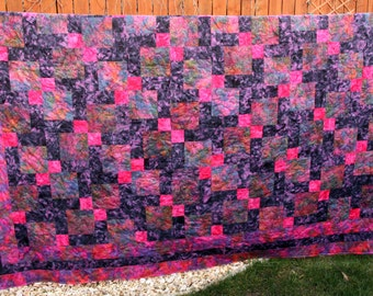 Queen / King Batik Patchwork Quilt, Fuchsia Flush, Pink & Purple, by PingWynny