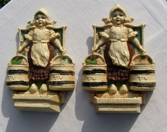 60s Set of Twin Dutch Girl Cast Iron Figures -  Probably Hubley Reproductions of bookends