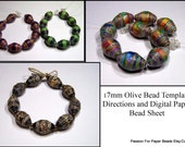 Paper Bead Template 17mm Olive Shape Paper Bead Template and Directions