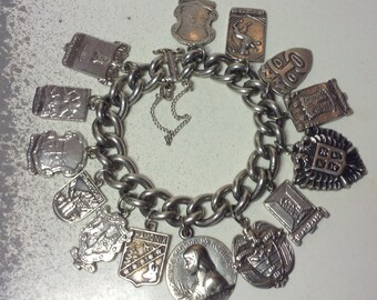 Solid Silver Travel Plaque Charm Bracelet 14 City Crests and Great Solid Large cable link Chain Bracelet