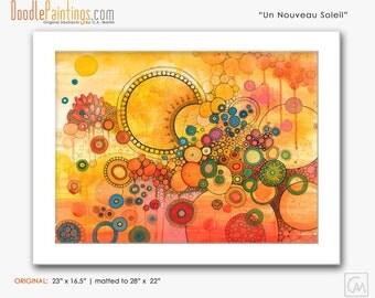 DoodlePainting ORIGINAL 23x16.5 Abstract Circles Watercolor in Mat: Un Nouveau Soleil