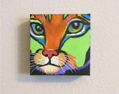 """Colorful Cat  # 4, Nursery, Baby Room, Original  5 x 5 x 1.5 """"  ready to hang Acrylic Painting by ebsq Artist  Ricky Martin. FREE SHIPPING"""