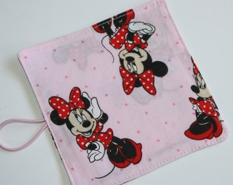 FAST SHIP Crayon Roll made from Minnie Mouse fabric, holds up to 10 Crayons, Birthday Party Favors