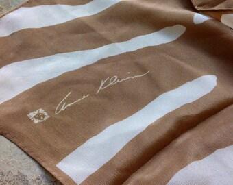 Vintage ANNE KLEIN Lion Logo Silk Scarf with Brown/Beige Colours
