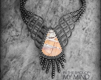 Elegant Necklace Mexican Jasper Macrame