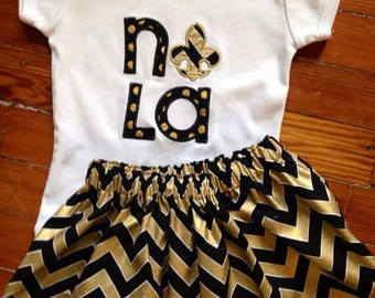 Black and gold skirt with NOLA top