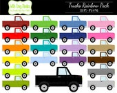 50% OFF Trucks Digital Clipart - Rainbow Truck Clipart - Pickup Truck Clipart