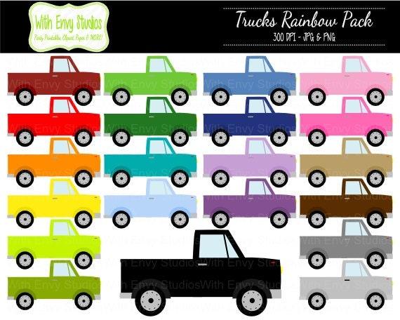 50% OFF Trucks Digital Clipart Rainbow Truck Clipart