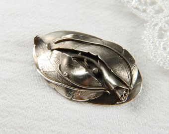 Silver Metalwork Brooch Nature Jewelry Metal Brooch Metalwork Jewelry Leaf Jewelry Gardener Gift Hand Forged Jewelry