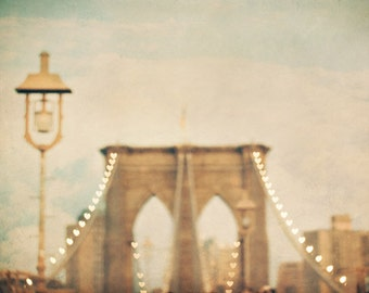 Romantic New York City art. Brooklyn Bridge photo. Love, bokeh hearts, dreamy New York photo. Travel photography.