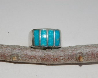 Inlaid Larimar and Silver Ring-  Rich Aqua Blue  - SIze 8 - 1970s