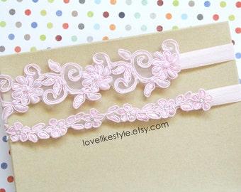 Pink Beaded Lace Wedding Garter Set, Pink Lace Garter Set, Toss Garter , Keepsake Garter / GT-32
