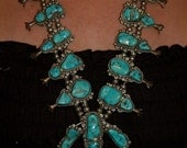 Magnificent Exquisite Navajo Kingman Turquoise Sterling Squash Blossom Necklace 348 Grams Hallmarked