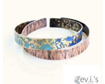 Set of 2 Blue Band Slim Bracelet Cuffs Brass Copper Oxidized Hand Textured Bangle Boho Hippie Ethnic Adjustable Cuff by evismetalwork