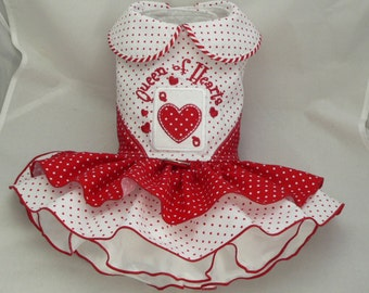 Small dog harness dress. Tutu skirt. Queen of Hearts By Poshdog