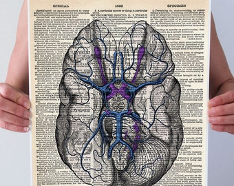 You Have a Beautiful Mind Blue BRAIN Anatomy Medical Diagram Illustration Art Print Poster Antique Dictionary Book Page 8x10 A3 +More Sizes