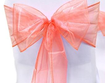 Chair Sashes  Wedding Chair Sashes Chair Bows Coral Organza Pew Bows Party Bows Event