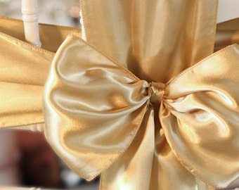 Chair Sashes. 50 Champagne   Wedding Chair Sashes Chair Bows  Satin Pew Bows Party Bows Event