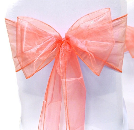 Chair sashes chair bows coral organza pew bows party bows event