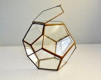 Glass Terrarium, Terrarium With a Hinged Door, modern geometric planter, dodecahedron plant holder.