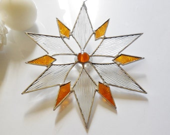 Beautiful Star Snowflake Holiday Ornament Gift For Her, Gift For Girlfriend, Gift For Mom, Suncatcher Stained Glass Star