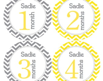 PERSONALIZED Baby Girl Monthly Bodysuit Stickers in Yellow and Gray Chevron Baby Month Stickers Monthly Milestone Stickers Baby Decals