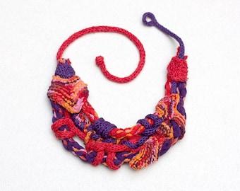 Knitted bib necklace, statement fiber jewelry, red purple orange, OOAK