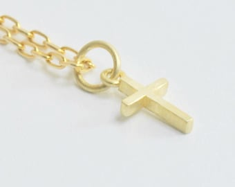 Solid 14K Gold Small Cross Pendant