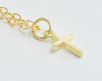 Solid 14K Gold Small Cross Pendant NO CHAIN