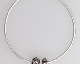 Bangle and Beads Oxidized Silver Bracelet