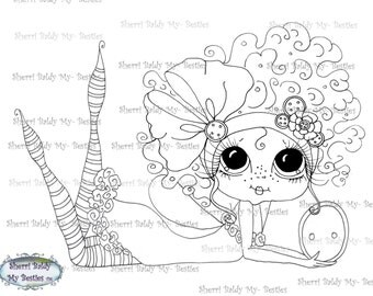 INSTANT DOWNLOAD Digital Digi Stamps Big Eye Big Head Dolls Digi Bridgett Buttons By Sherri Baldy