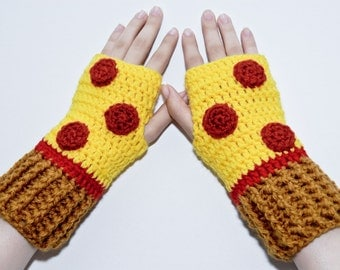 Crochet Gloves-Pepperoni Pizza Fingerless Gloves-Fingerless Gloves- Women gloves-Kawaii-Food Gloves-Yellow-Mittens