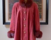 Vintage 1980's Cherry Pink Fox Trim Red Suede Swing Coat / Suede Swing Coat with Red Fox Collar & Cuffs / Size 10