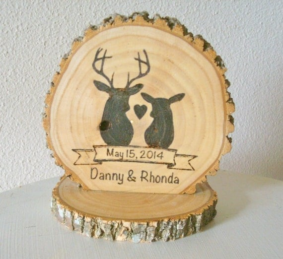 wooden rustic country wedding cake topper personalized rustic cake topper wedding wood burned deer 27594