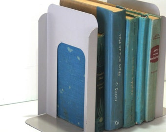 Vintage Large Size Heavy Duty Gray Stone Putty Metal Steel Library Style  Retro Book Ends For