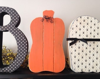 Halloween boo letter set ghost and pumpkin shelf manlte decoration primitive decor