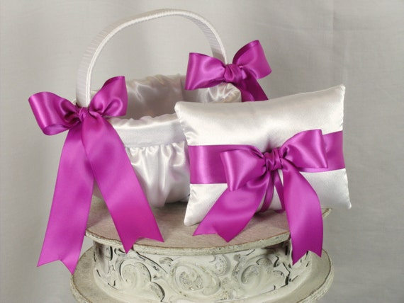 White and Azalea Wedding Ring Bearer Pillow, Flower Girl Basket Set-Azalea-Pink Accent