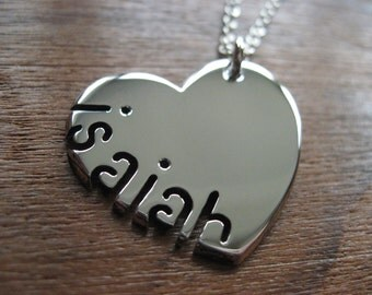 Heart and Name Pendant Necklace