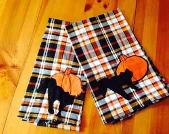 dishtowels make from linen cats and pumpkins