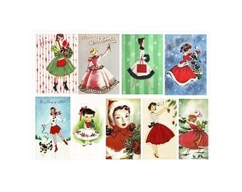 Girls at Christmas - Vintage Greeting Cards - 8 x 11 Digital Collage - JPEG