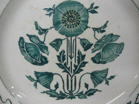 VILLEROY & BOCH DRESDEN Made in Germany 1800's Paste Pottery Plate Green epsteam Hand Stenciled Hand PaintedFlowers Morning Glories