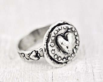 Love's Shield Ring -Inspirational Jewelry -Handmade Jewelry- Heart Ring - R341