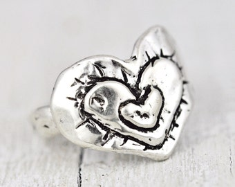 Triple Love Ring - Heart Ring- Romantic Jewelry -Handmade Jewelry - R312