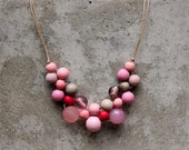 Pink wooden bead necklace, boho bib necklace, gypsy, dusky pink, soft pink, grey, woven.