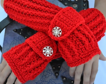 Candy red fingerless gloves, arm warmers, texting gloves, crochet fingerless gloves, crochet arm warmers, hand warmers, crochet fashion