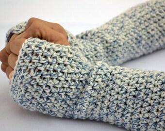 Blue specks fingerless gloves, arm warmers, texting gloves, crochet gloves, wrist warmers, hand warmers, mittens, warm gloves, winter gloves