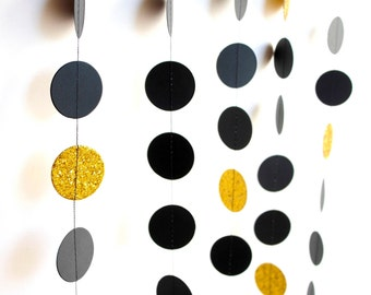 Black Gold paper garland, metallic Gold glitter circles, gold Black wedding shower, graduation celebration party decoration, photo prop