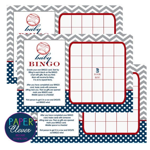 baby shower games bingo baseball theme instant download digital